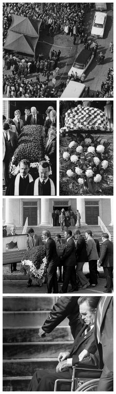 """Legendary Alabama football Coach #Paul """"Bear"""" #Bryant died on January 26, 1983. We found some vintage photos of his funeral, which included guests such as George Wallace, and Pat Dye, among others."""