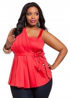 Ashley Stewart: One-shoulder Pleated Front Top Curvy Fashion, Plus Size Fashion, Girl Fashion, Curvy Plus Size, Plus Size Women, Full Figure Fashion, Full Figured Women, Cool Style, My Style