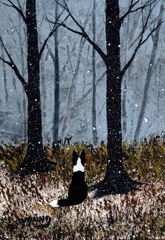 BORDER COLLIE Dog WINTER snow abstract Folk Art PRINT Todd Young FIRST SNOW #OutsiderArt