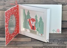 Miss Pinks Craft Spot: Foxy Friends Shadow Box Fancy Fold Cards, Folded Cards, Pop Up Cards, Cool Cards, Cadre Diy, Pop Up Frame, Christmas Shadow Boxes, Karten Diy, Interactive Cards