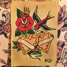 Rose hearts and sparrow original hand painted traditional tattoo flash by BoldWillHoldKD, $20.00