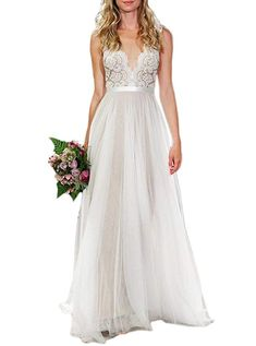 online shopping for Ikerenwedding Women's V-Neck A-line Lace Tulle Long Beach Wedding Dresses Bride from top store. See new offer for Ikerenwedding Women's V-Neck A-line Lace Tulle Long Beach Wedding Dresses Bride Lace Beach Wedding Dress, V Neck Wedding Dress, Long Wedding Dresses, Wedding Gowns, Lace Wedding, Church Wedding, Summer Wedding, Wedding Simple, Bridal Veils