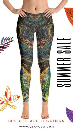 Unique Green Yoga Pants, Festival Leggings, Handmade Leggings, Leggings & Pants for Women, Yoga Workout Tights, Art Leggings - Handmade Item Yoga Leggings, Leggings Are Not Pants, Yoga Pants, Festival Wear, Festival Outfits, Intense Workout, Printed Leggings, Stretch Fabric, Casual Wear
