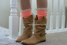 Items similar to Coral Boot Socks with lace trim and buttons, lace boot socks on Etsy Bearpaw Boots, Ugg Boots, Coral Boots, Lace Boot Socks, Lace Trim, Uggs, Trending Outfits, Unique Jewelry, My Style