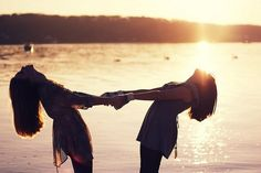 beach sunset. friendship