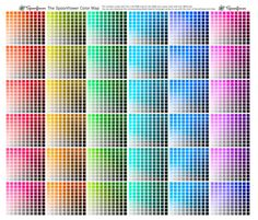 """Spoonflower Color Map--will print all 3600 colors on 1 square yard of 6 different types of fabric for you to see the """"true"""" printed color (for a small fee).  They also provide a PDF of the RGB values.  A MUST for artists, crafters, designers and quilters."""