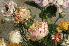 Henri Fantin-Latour 'Flowers and Fruit' (detail) 1866 by Plum leaves, via Flickr
