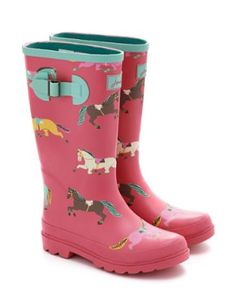 Joules Girls Printed Welly, Candy Pink Pony Print.                     Bright and hardwearing wellies that are set to make wet weather amazing. There's no better way to puddle-proof your little ones feet. Pair them with our Welly Socks for ultimate comfort.