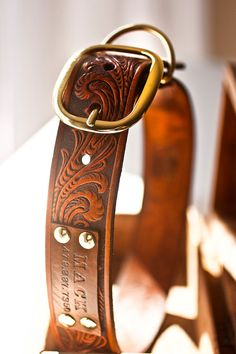 Custom Leather Dog Collar. Looooove the tooled leather. His horse show collar? Lol