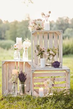 Use crates for decoration for a rustic inspired lavender wedding