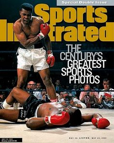 "On their cover 12 years ago.SPORTS ILLUSTRATED presented ""The Century's Greatest Sports Photos""--and for their cover, they chose the 1965 photo of Muhammad Ali knocking out Sonny Liston in the first round of their historic re-match. Muhammad Ali, Si Cover, Heavyweight Boxing, Sports Illustrated Covers, Sting Like A Bee, Float Like A Butterfly, Sports Magazine, Sport Icon, American Sports"