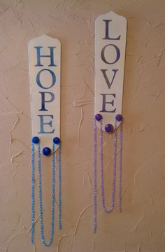 Repurposed Upcycled Fan Blades  Hope blue & Love by Rags2Retro, $20.00
