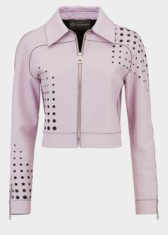 4874750f584a Veste en cuir perforé - Versace Femme   Boutique en Ligne France. Veste en  cuir