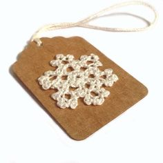 """5 - 2.25""""x1.5"""" Hand Crocheted Snowflake on Kraft Brown Holiday Gift Tags, Made Using Repurposed, Recycled Materials, Hand Punched"""