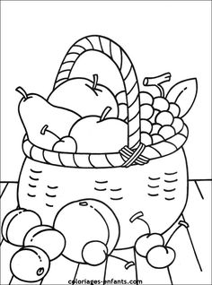 Mand met fruit Vegetable Coloring Pages, Fruit Coloring Pages, Colouring Pages, Coloring Sheets, Adult Coloring, Coloring Books, Drawing For Kids, Art For Kids, Fruits Drawing