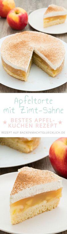 Diese Apfel-Sahne-Torte ist einer der allerbesten Apfelkuchen überhaupt. Das Rezept für diese super leckere Apfeltorte ist eines der beliebtesten auf unserem Blog und der Gewinner eines großen Apfelkuchen Wettbewerbs. Probiert es aus!