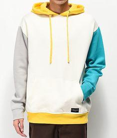 Hoodies & Sweatshirts For Men Stylish Hoodies, Cool Hoodies, Yellow Hoodie, White Hoodie, Colorful Hoodies, Character Outfits, Grey Yellow, Mens Sweatshirts, Urban Outfitters