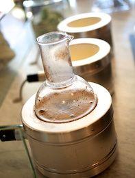 cowboy coffee brewing at boxcar coffee Boulder, CO