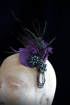 SCARAB Purple Peacock Headpiece Brooch Corsage by carlafoxdesign, $55.00