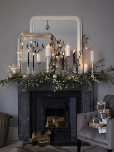 Have a Fashion Fabulous Unusual Christmas Ideas and Decoration this year by Amanda Koster that are sure to brighten up one's home this coming holiday season. Christmas Fireplace, Christmas Room, Christmas Mantels, Noel Christmas, Winter Christmas, Christmas Lights, Christmas Ideas, Christmas Nails, Christmas Crafts