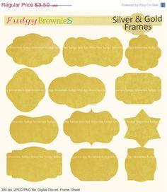 ON SALE gold frames clipart,Gold Foil frames clipart,Bracket frame, frame A-156,Gold Foil Bracket label, gold Bracket Frames, scrapbooking