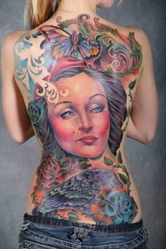 Artist: Doug Billian from Calaveras Tattoo Studio in Killeen, Texas  Ink Life Tour: Oklahoma City, Oklahoma  Photographer: Ernie Bustamante  1st Place Realistic  1st Place Large Traditional  1st Place Best Back Piece  2nd Place Large Colour  Best Overall Female Tattoo tattoos