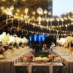 Back yard wedding with a big screen, yea please!