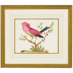 Chelsea House 32-0008D Pink Bird and Black Tail Art