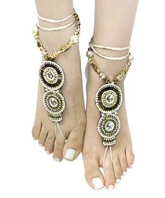 Look what I found on #zulily! White & Brown Beaded Art Bohemian Barefoot Sandals #zulilyfinds