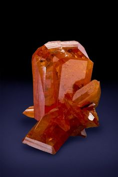 WULFENITE - BRIGHT RED/ORANGE GEMMY CRYSTALS - MINIATURE SIZED SPECIMEN - RED CLOUD MINE, ARIZONA