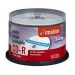 IMATION cd-r media 52x 700mb 80min white inkjet printable w/spindle 50-pk by Imation. $25.79