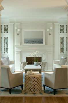 I'm dreaming of a white {living room} | Laurel Bern Interiors | fabulous cabinet doors and interior architecture