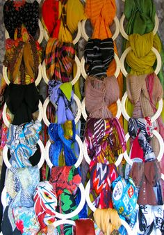 Scarves on a hanging piece from Ikea #collection #organization #scarves