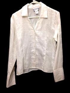 Pendleton Womens Size 8 Fitted Shirt White Button-up Shirt Plaid  #Pendleton #Blouse