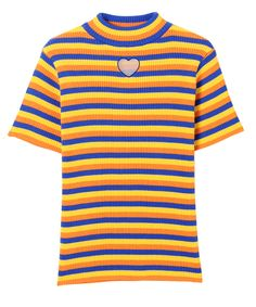 BE MINE HIGH NECK KNIT(BLUE×YELLOW×ORANGE-2)