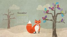 Mr Fox: November Desktop Calendar | thecarolinejohansson.com