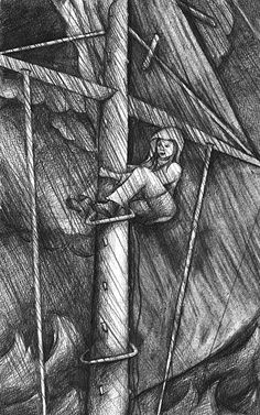 """Illustration for """"Tempest over Tahiti"""" - by Gordon McClellan done by Julie Sneeden"""