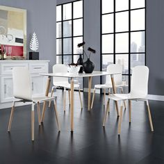 Modway Stack Wood Dining Chairs and Table Set of 5 Acquaint yourself with an intelligent piece concealed behind sheer simplicity.