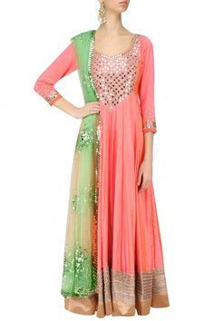 Abhinav Mishra Coral Pink and Mint Mirror Work Anarkali Set #happyshopping #shopnow #ppus