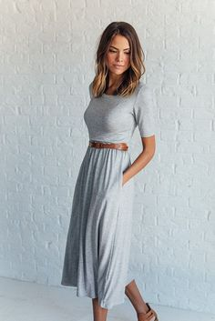 DETAILS: Super comfy midi dress Made from sustainable Bamboo Pockets Elastic waist Fabric Content: 96% Bamboo, 4% Spandex Model is...