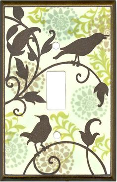 Songbirds Pattern Ceramic Light Switch Plates, Outlet Covers, Wallplates