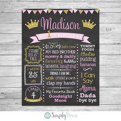First Birthday Chalkboard Printable Princess by SimplyDovie