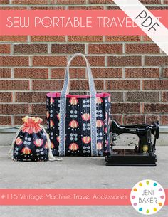 Travel in style with your vintage sewing machine with this fun set. Heavy-duty tote bag, extension table cover, and drawstring bag will help keep...