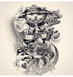 Awesome cool design done by Japanese Tattoo Artist, Japanese Tattoo Symbols, Japanese Tattoo Designs, Tatoo Art, Body Art Tattoos, Sleeve Tattoos, Japan Tattoo Design, Cat Tattoo Designs, Art Vampire
