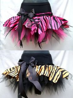Sew your Tiger or Zebra fabric on the top part of your old yoga pants. Add some tule or netting underneath to make it stand out.