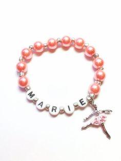 Dancer Ballerina name bracelet girls beaded by Sellingitforyou