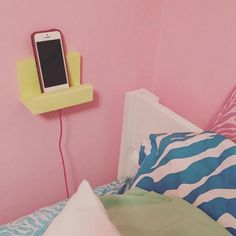 bedside phone stand phone holder wood phone display charging station teen dorm gift idea for her for him phone shelf iphone by NewLoveDecor on Etsy Cute Dorm Rooms, College Dorm Rooms, Teen Rooms, Diy Dorm Room, College Tips, College Girl Bedrooms, Teenager Rooms, Dorm Room Crafts, Dorm Bathroom