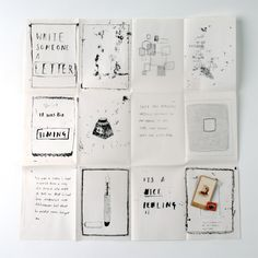 """Write More Letters : Alice Gabb Illustration. A fold out poster to encourage people to write more letters. """"I tried to illustrate the reason why I love letters, so the individual drawings are a mixture of monoprints, etching and ink drawings, all photocopied onto folex and then screenprinted to retain the tactility. There is also a sewn on little pocket with old cigarette cards and stamps."""""""