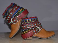 ETHNIC, HIPPIE, BOHO Folk, Tribal, Gypsy, Women, Multicolor Boots, Bohemian Boots, Bohochild Boots, Ankle Boots, Handmade Boots, Aztec Boots...