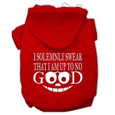 Up to No Good Screen Print Pet Hoodies Red Size XXL (18)